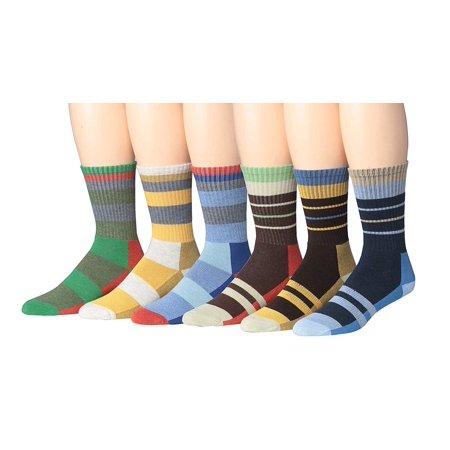 Ronnox Unisex Comfortable 6-Pair Hiking & Outdoor Crew Socks, Seamless Toe, (Rhk01-02,