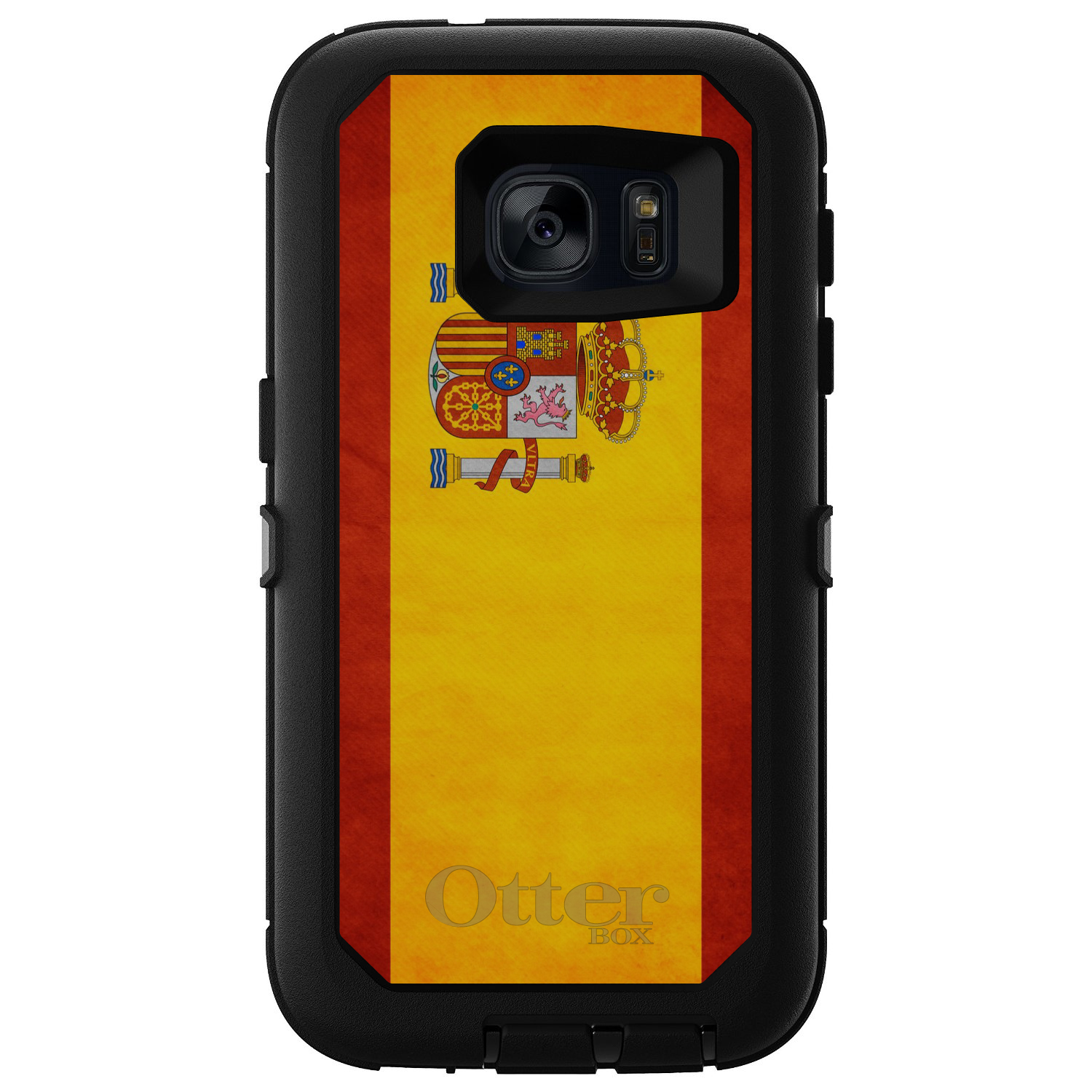 CUSTOM Black OtterBox Defender Series Case for Samsung Galaxy S7 Spain Old...