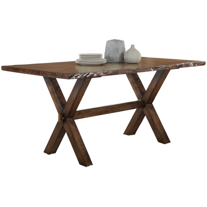 ACME Tratha Dining Rectangular Trestle Table in Antique Oak