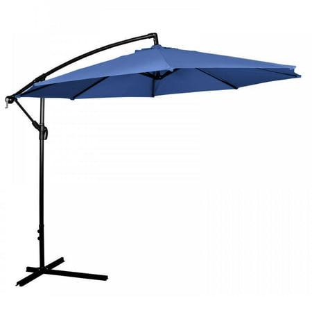10 39 ft hanging umbrella patio sun shade offset outdoor market w cross base blue. Black Bedroom Furniture Sets. Home Design Ideas