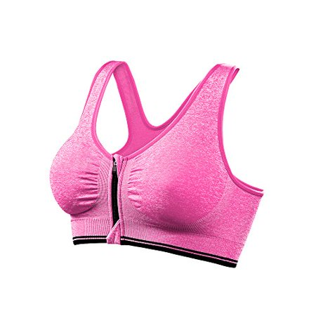 Pop Fashion - Women Sports Bras with Zipper Front Racerback Bra Wirefree Padded  Pushup Support - Walmart.com f1af95db015