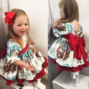 Newborn Infant Toddler Girls Kids Floral XMAS Santa Claus Flared Party Wedding Birthday Dress Clothes