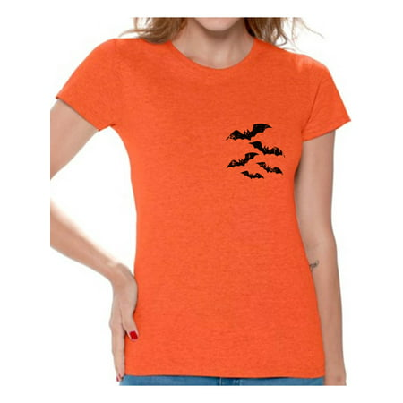 Awkward Styles Scary Bats Tshirt Halloween Shirts for Women Bat T Shirt Bats Halloween Shirt Women's Halloween Shirt Funny Gifts for Halloween Spooky Outfit Halloween Bats T-Shirt Scary Bats Shirt - Halloween Outfits For Pregnant Women