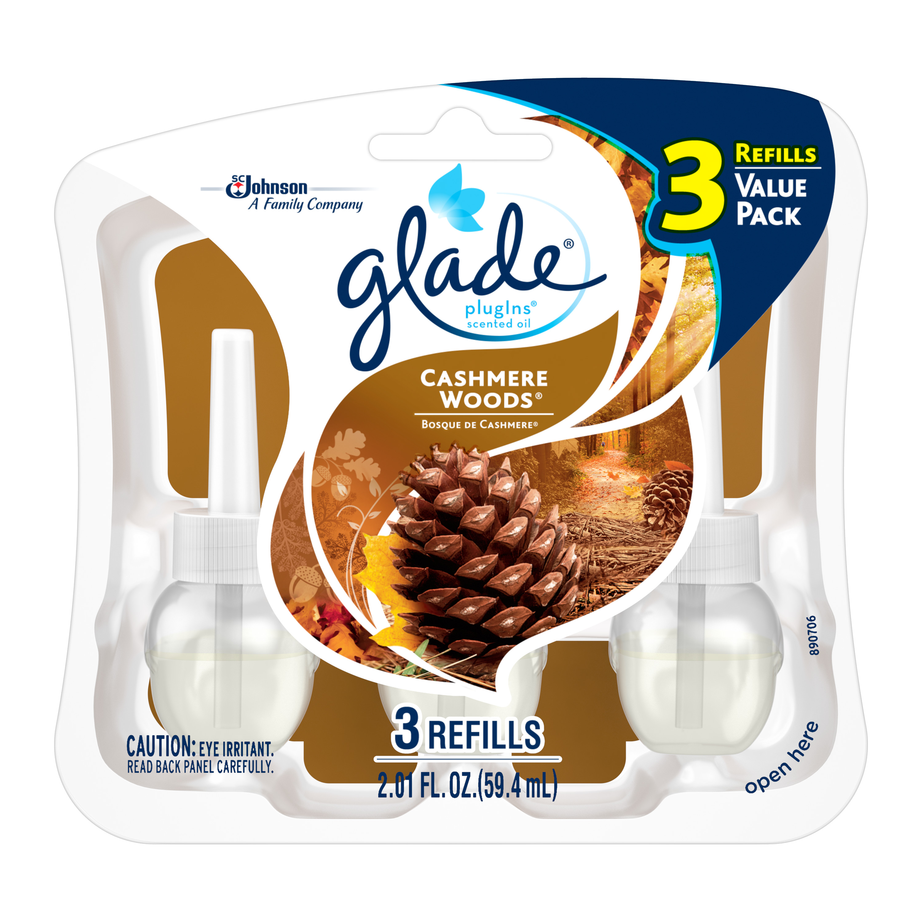 Glade PlugIns Scented Oil Air Freshener Refill, Cashmere Woods, 3 count, 2.01 Ounces