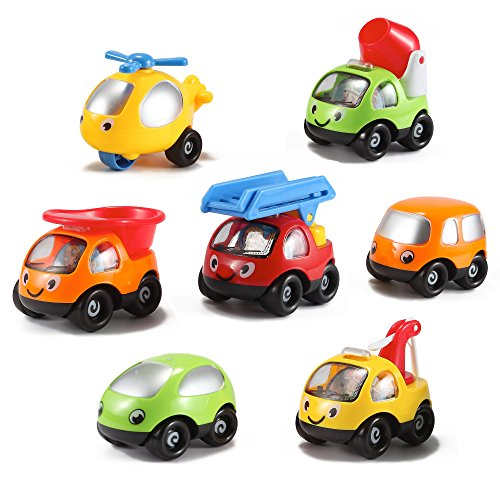 Kinder Toys Network Toon Town Baby Toy Cars , Set of 7 - Fire Truck, Tow Truck, Dump Truck, Helicopter  and  More