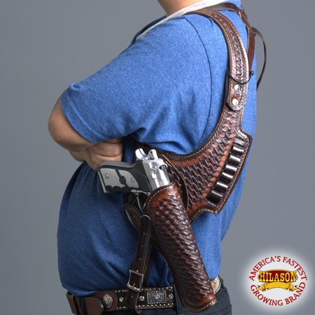HILASON WESTERN COWBOY LEATHER SHOULDER RIG GUN HOLSTER 44/45 CALIBER BLK/ - Gun Holster Purse