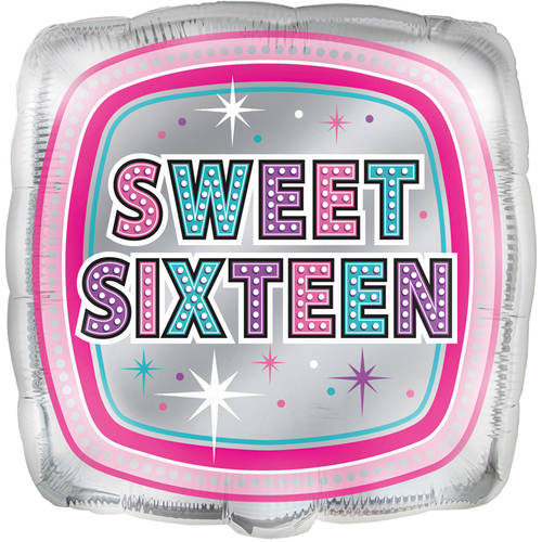 Foil Sparkling Sweet 16 Birthday Balloon, 18 in, 1ct