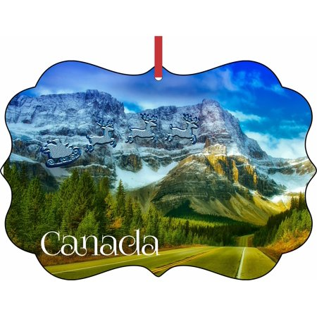 Santa Klaus and Sleigh Riding Over Banff National Park, Canada Double Sided Elegant Aluminum Glossy Christmas Ornament Tree Decoration - Unique Modern Novelty Tree Décor - Park Sleigh