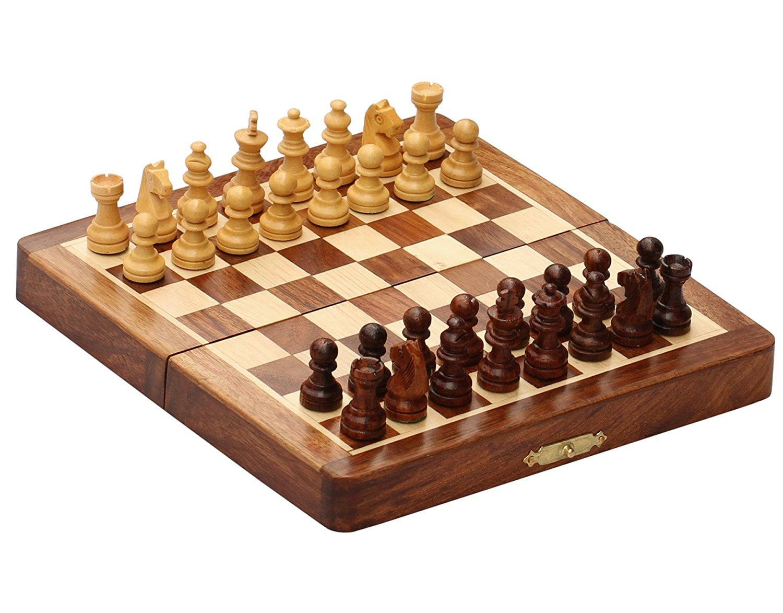 BKRAFT4U Handmade Wooden Rosewood Foldable Magnetic Chess