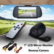 7 Inch LCD Car Rear View Backup Mirror Monitor + Reverse Camera Cam System 170° IP67