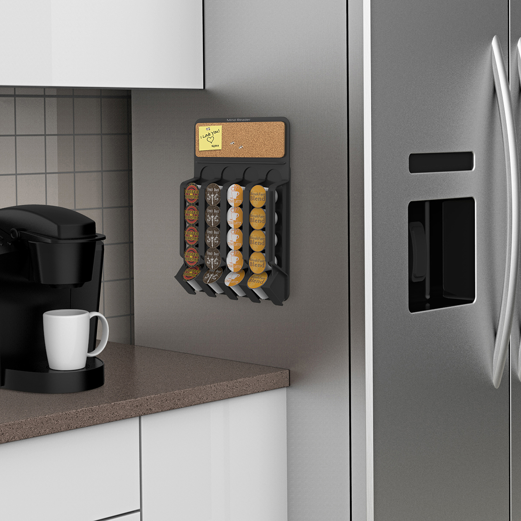 Mind Reader Fridge Wall Mount Coffee Pod K Cup Dispenser With Cork Top