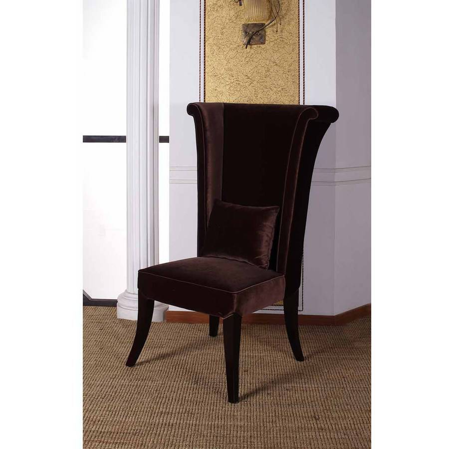 Armen Living Mad Hatter Dining Chair, Brown Rich Velvet