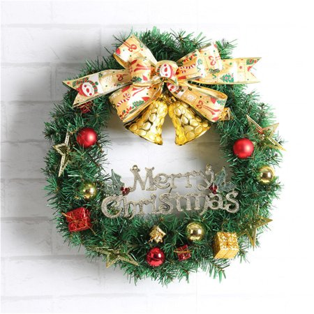 Merry Christmas Holiday Wreath Door Wall Ornament Garland Decor Bowknot Bell Decor ()