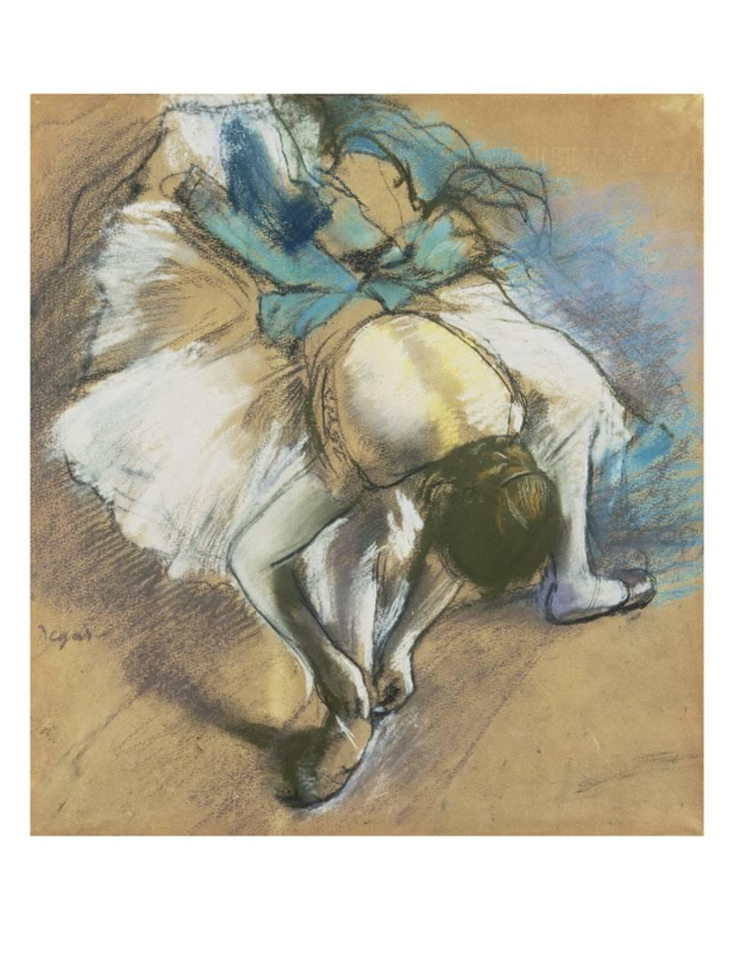 Edgar Degas Dancer Adjusting Her Slipper Giclee Canvas Print Paintings Poster Re