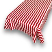 """Carnation Home Fashions """"Bold Stripe"""" Red 52""""x52"""" vinyl flannel backed tablecloth"""