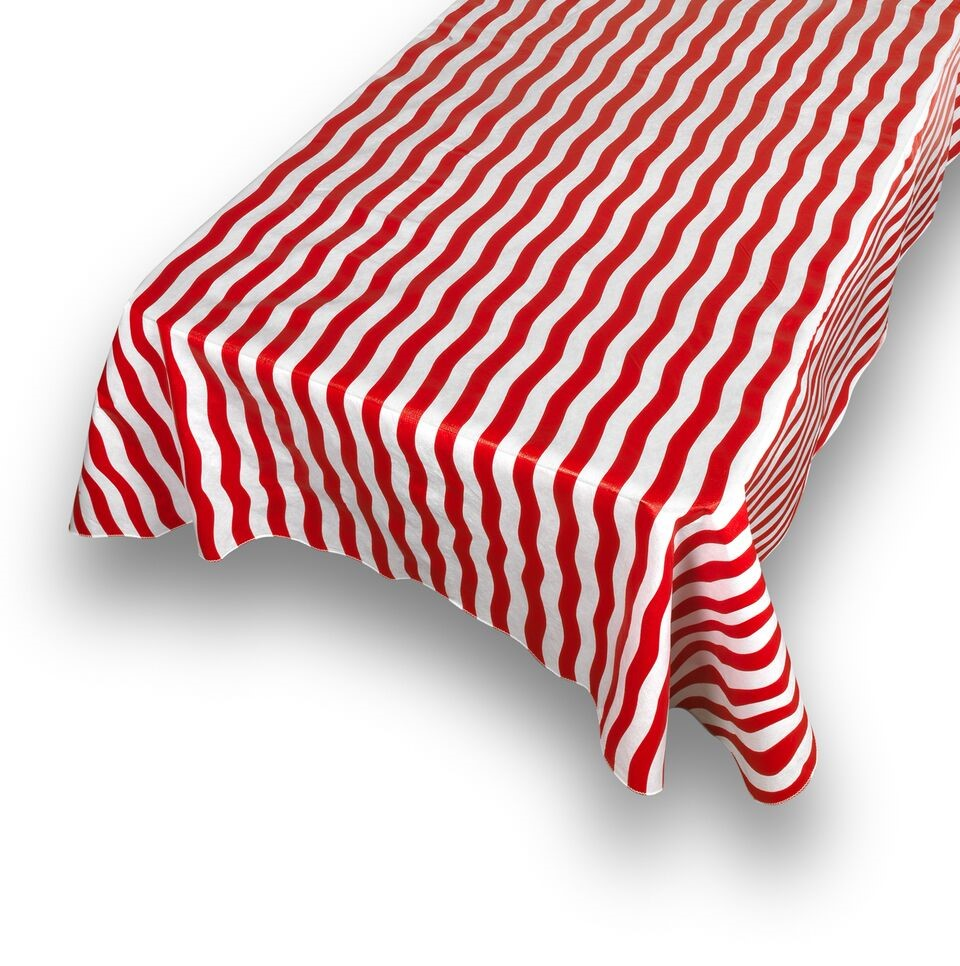 "Carnation Home Fashions ""Bold Stripe"" Red 52""x52"" vinyl flannel backed tablecloth"