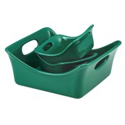 Rachael Ray Stoneware 3-Piece Square Baker and Au Gratin Bubble & Brown™ Set , Dark Green