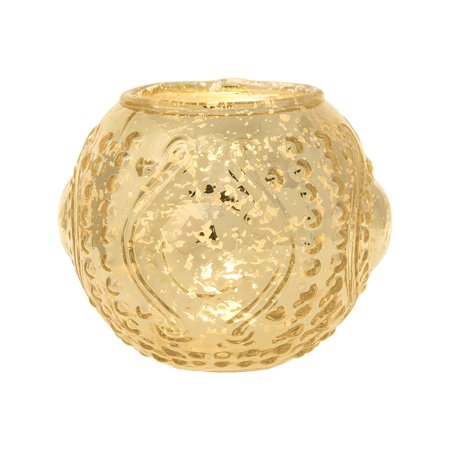Vintage Mercury Glass Candle Holder (4-Inch, Small Josephine Design, Deco Motif, Gold) - For Use with Tea Lights - For Home Decor, Parties, and Wedding - Vintage Deco Design