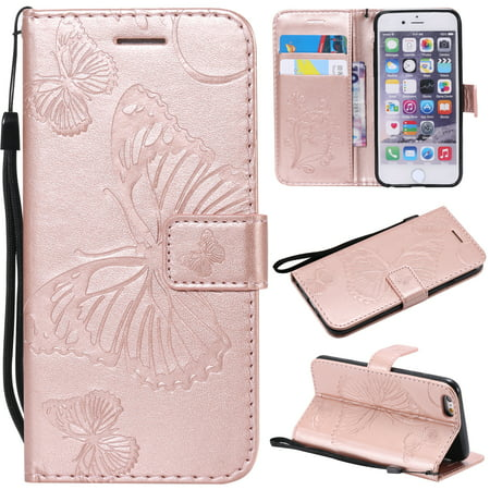 iPhone 6 Plus/ 6S Plus Wallet case, Allytech Pretty Retro Embossed Butterfly Flower Design PU Leather Book Style Wallet Flip Case Cover for Apple iPhone 6 Plus and iPhone 6S Plus,