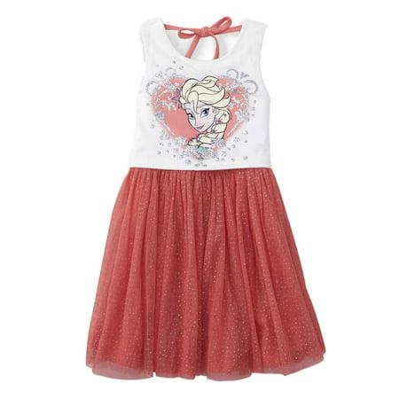 Disney Frozen Little Girls Peach Queen Elsa Tulle Dress Sundress](Disney Queen Elsa Dress)