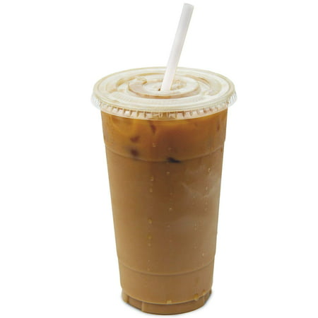 32 oz Clear Plastic Cups With Flat Slotted Lids for Iced Cold Drinks Coffee Tea Smoothie Bubble Boba, Disposable, Double Extra Large Size [50 Pack]