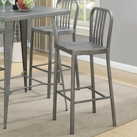 - Coaster Industrial Bar Stool, Light Gunmetal Finish