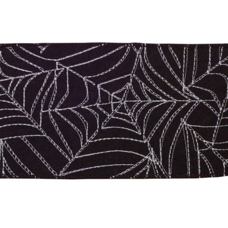 Black and White Spider Web Halloween Wired Craft Ribbon 4