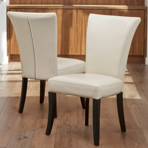 Stanford Ivory Leather Dining Chairs - 2 Pack