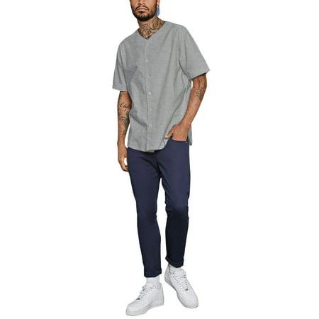 Ma Croix Men's Baseball Solid Plain Button Down Jersey Active Sportswear ()