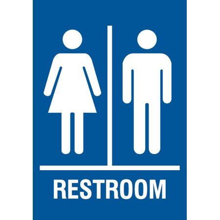 family restroom blue sign men women bathroom signs