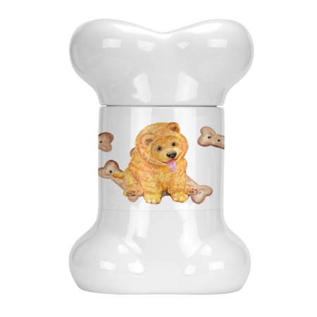 Chow Chow Puppy Bone Shaped Treat Jar