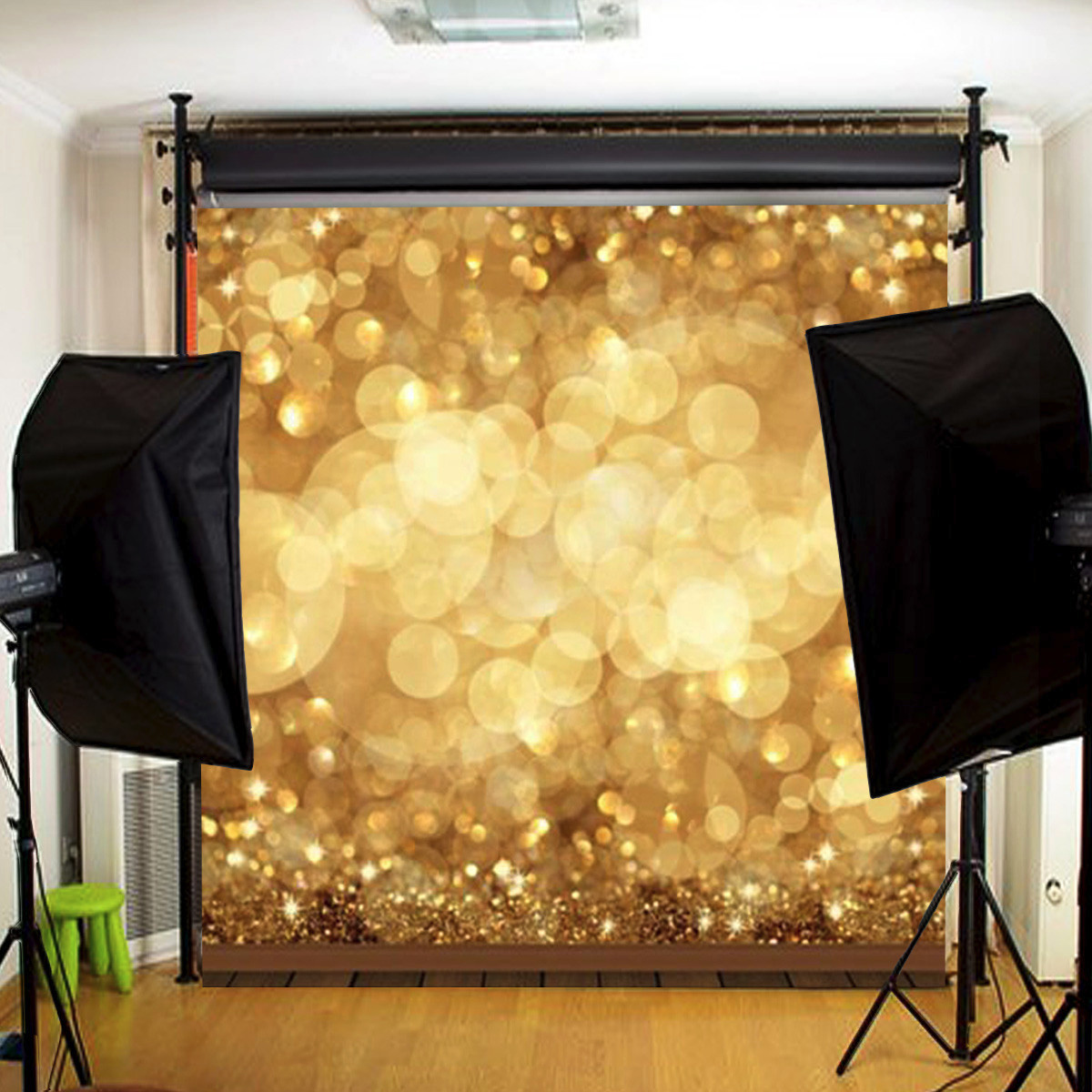 10X10FT Gold Glitter Spot Background Backdrop Photo Studio Props For Valentine's Day Christmas Wedding Party