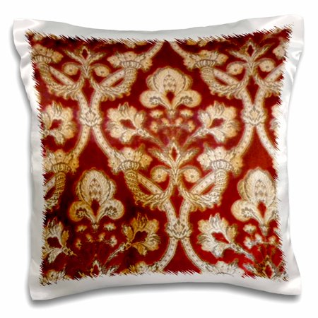 3dRose Vintage Red and Gold Brocade, Pillow Case, 16 by 16-inch