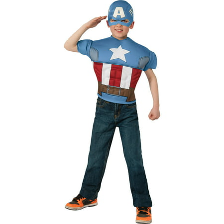 Captain America Top and Mask Child Halloween Costume, One Size, 8-10 - Captian America Mask