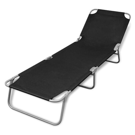 WALFRONT Folding Sun Lounger Powder-coated Steel Black