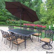 Oakland Living Corporation Sunbrella Aluminum 11-piece Dining Set with Umbrella and Stand Polyester/Aluminum - Weather Resistant/Water