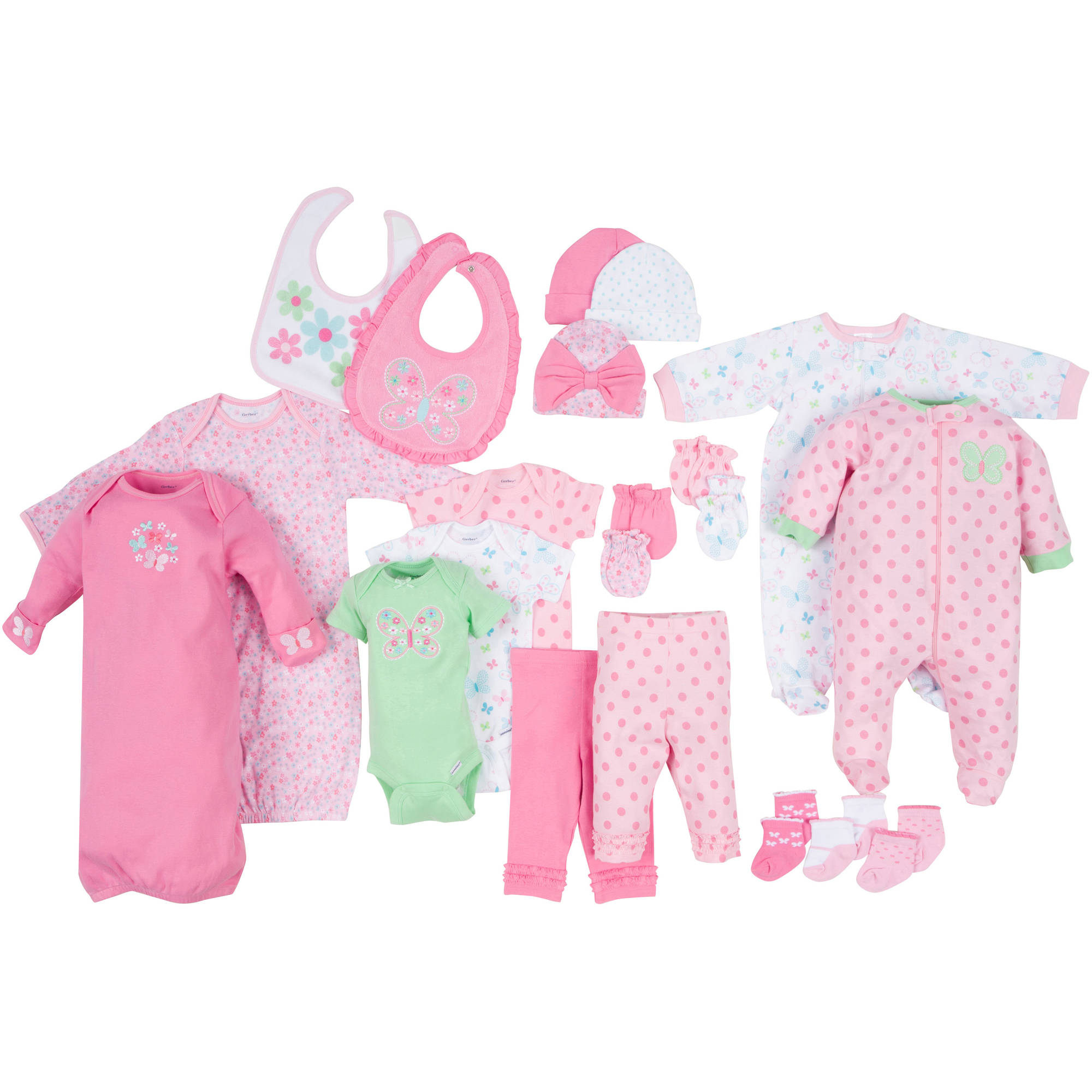 Gerber Newborn Baby Girl Perfect Baby Shower Gift 22-Piece Layette Set, Age 0-3M