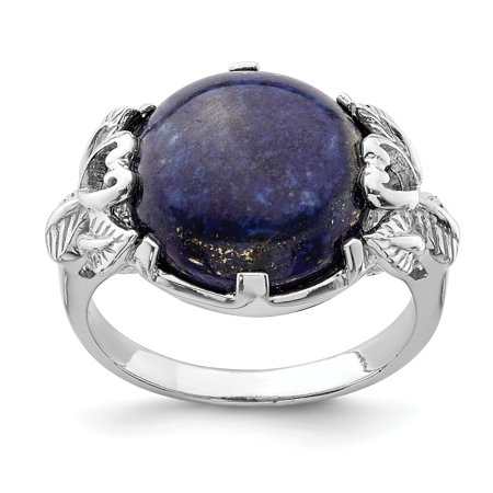 925 Sterling Silver Lapis Lazuli Band Ring Size 7.00 Natural