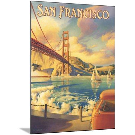 San Francisco Golden Gate Bridge Travel Advertisement Landscape Wood Mounted Print Wall Art By Kerne Erickson