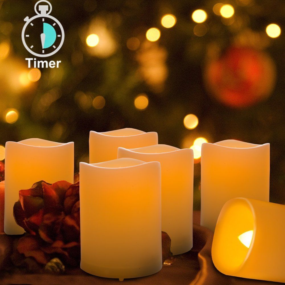 Kohree Real Wax Flameless Candles With Timer Outdoor Battery Flickering Candle Flamewax Led Candleled Electronic Circuit Operated Light 6 Set Votive