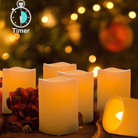 Kohree Real Wax Flameless Candles With Timer Outdoor Battery Operated Led Light 6 Set Votive