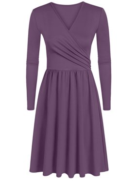 Simlu Womens Junior Short and Long Sleeve Wrap Dresses With Gathered Waist - Made In USA
