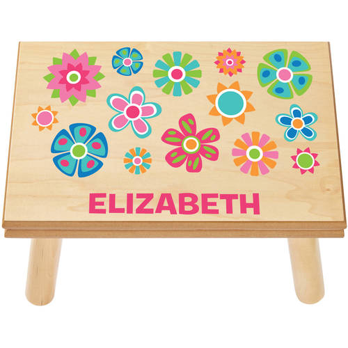 Personalized Pretty Petals Step Stool, Available in 3 Finishes by Generic