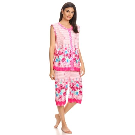 5026C Womens Capri Set Sleepwear Cotton Pajamas - Woman Sleeveless Sleep Nightshirt Pink # 58 XXL