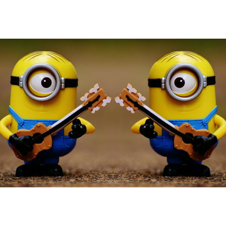 Cute Minions (Canvas Print Figures Cute Double Minions Guitar Funny Music Stretched Canvas 10 x)