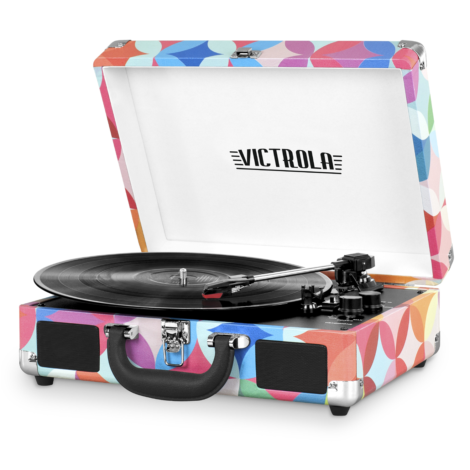 Portable Victrola Suitcase Record Player With Bluetooth And 3 Speed  Turntable, Geometric Print