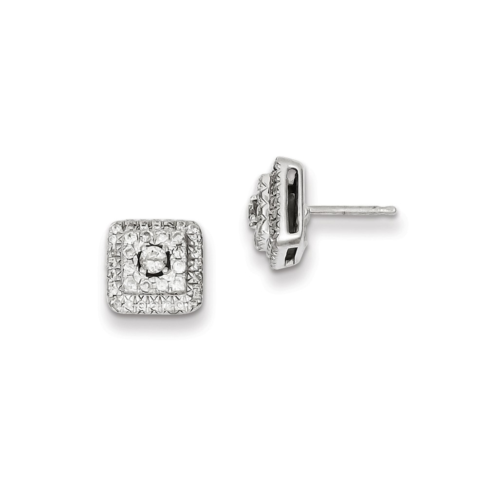 Sterling Silver 0.51ct Diamond Square Post Earrings. Carat Wt- 0.51ct (8.68MM)