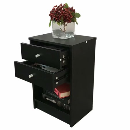 Black Nightstand Side End Table Bedside Storage Table Stand with 2 Drawer End Shelf