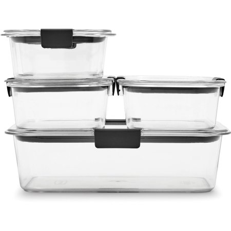 Clear Plastic Cylinders With Lids (Rubbermaid Brilliance Leak-Proof Food Storage Containers with Airtight Lids, Set of 5 (10 Pieces Total) |BPA-Free & Stain)