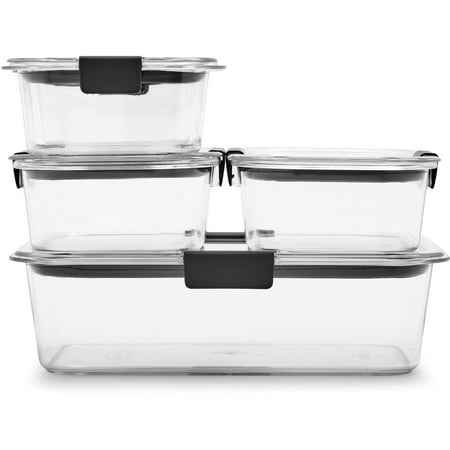 Rubbermaid Brilliance Leak-Proof Food Storage Containers with Airtight Lids, Set of 5 (10 Pieces Total) |BPA-Free & Stain (Pyrex 10 Piece Storage Set With Lid)